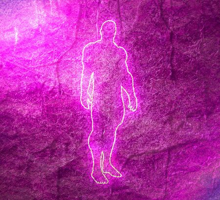 Bodybuilder outline silhouette. Muscular man posing. Simple style illustration. Sport concept. Neon bulb illumination. Stone surface texture Imagens