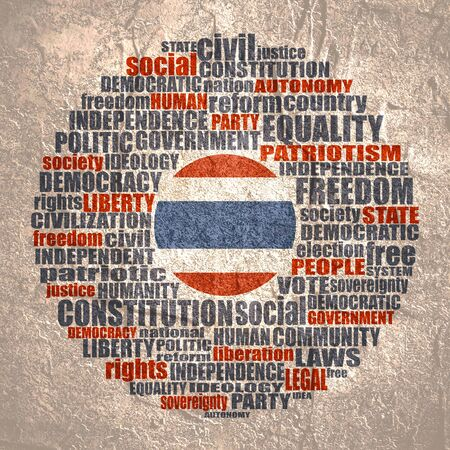 Word cloud with words related to politics, government, parliamentary democracy and political life. Flag of the Thailand.