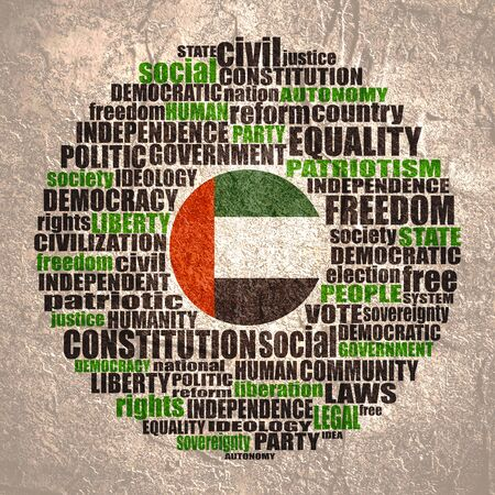 Word cloud with words related to politics, government, parliamentary democracy and political life. Flag of the United Arab Emirates. Stock Photo