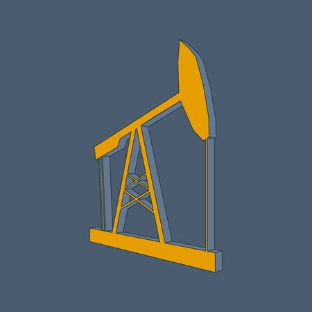 Oil derrick outline 3D icon. Energy and power isometric silhouette