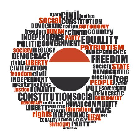 Word cloud with words related to politics, government, parliamentary democracy and political life. Flag of the Yemen
