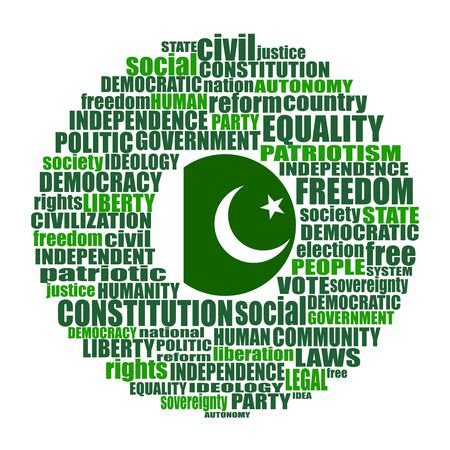 Word cloud with words related to politics, government, parliamentary democracy and political life. Flag of the Pakistan
