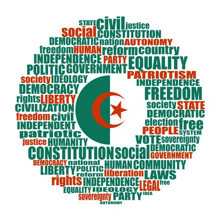 Word cloud with words related to politics, government, parliamentary democracy and political life. Flag of the Algeria Ilustração