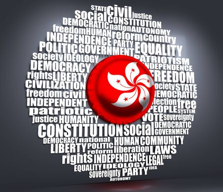 Word cloud with words related to politics, government, parliamentary democracy and political life. Flag of the Hong Kong. 3D rendering
