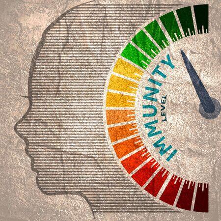 Kleurenschaal met pijl van rood naar groen. Het pictogram van het meetapparaat voor het immuniteitsniveau. Teken toerenteller, snelheidsmeter, indicatoren. Kleurrijk infographic meetelement. Hoofd van vrouw silhouet. Stockfoto