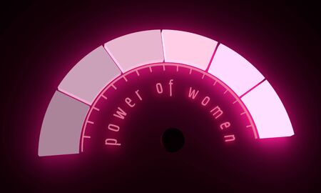 Neon shine scale. The measuring device icon. Power of women text. 3D rendering Imagens