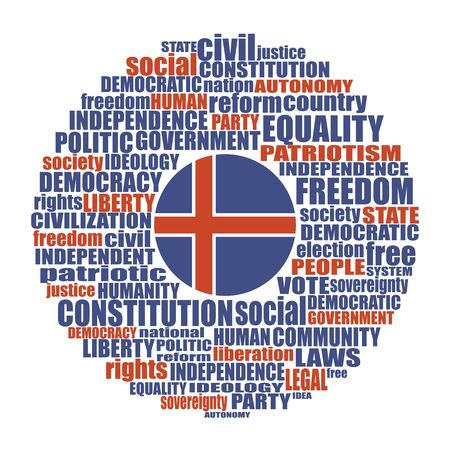 Word cloud with words related to politics, government, parliamentary democracy and political life. Flag of the Iceland 向量圖像