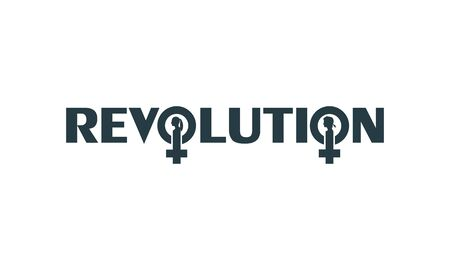 Female sign icon in revolution text. Silhouette of woman head