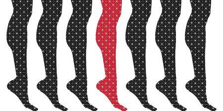 Schlanke, elegante Frauenbeinsilhouetten, strukturiert durch Linien- und Punktmuster. Designelement für Beine. Vektorgrafik