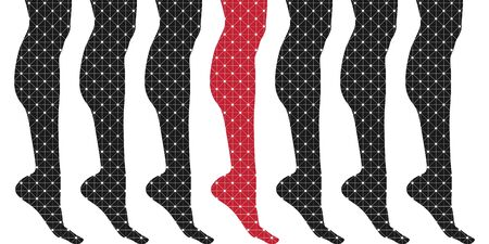 Slim elegant woman leg silhouettes textured by lines and dots pattern. Legs design element. 向量圖像