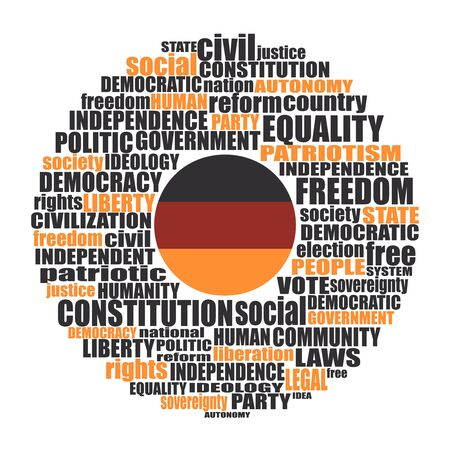 Word cloud with words related to politics, government, parliamentary democracy and political life. Flag of the Germany