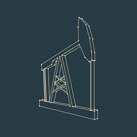 Oil derrick outline 3D icon. Energy and power isometric silhouette. Connected lines with dots