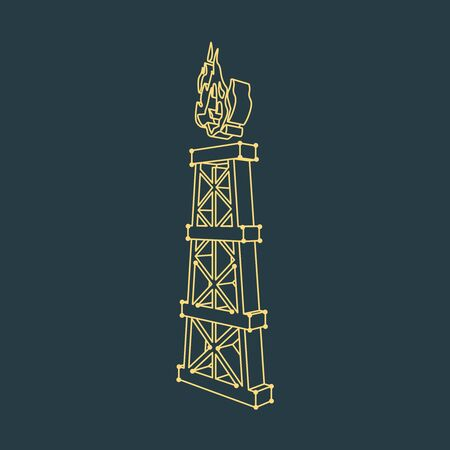 Natural gas and oil mining industry. Gas tower icon.