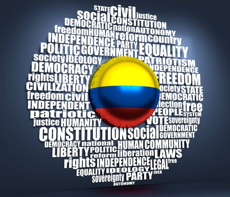 Word cloud with words related to politics, government, parliamentary democracy and political life. Flag of the Colombia. 3D rendering Stock Photo