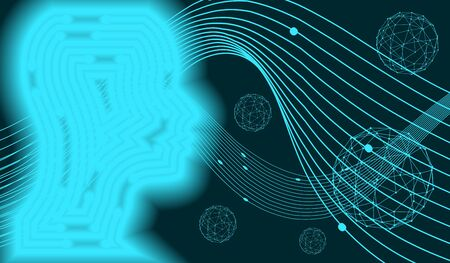 Profile of the head of a man. Scientific medical designs. Connected lines with dots. Robotics industry concept