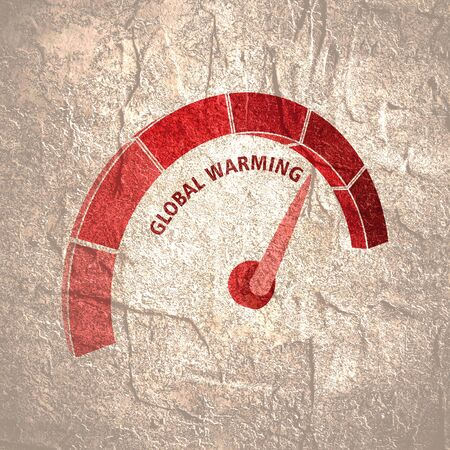 Red gradient scale. Global warming level measuring device icon. Sign tachometer, speedometer, indicators. Infographic gauge element. Archivio Fotografico