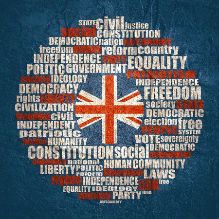 Word cloud with words related to politics, government, parliamentary democracy and political life. Flag of the UK. 免版税图像