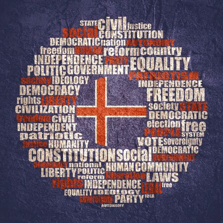 Word cloud with words related to politics, government, parliamentary democracy and political life. Flag of the Iceland.