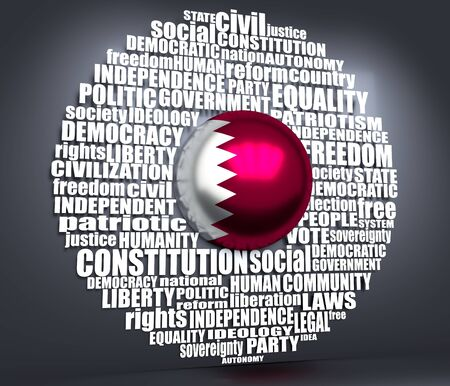 Word cloud with words related to politics, government, parliamentary democracy and political life. Flag of the Qatar. 3D rendering 免版税图像