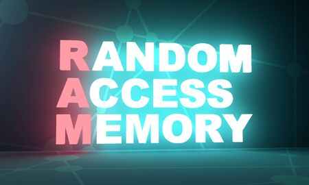 Acronym RAM - Random Access Memory. Technology conceptual image. 3D rendering. Neon bulb illumination