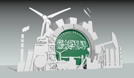 Energy and power industrial concept. Gear with flag of the Saudi Arabia. Energy generation and heavy industry. Industrial revolution text. 3D rendering.