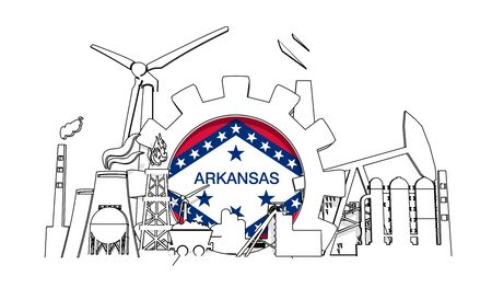 Energy and power industrial concept. Gear with flag of the Arkansas. Energy generation and heavy industry. 3D rendering. Thin line style