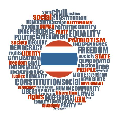 Word cloud with words related to politics, government, parliamentary democracy and political life. Flag of the Thailand Illustration