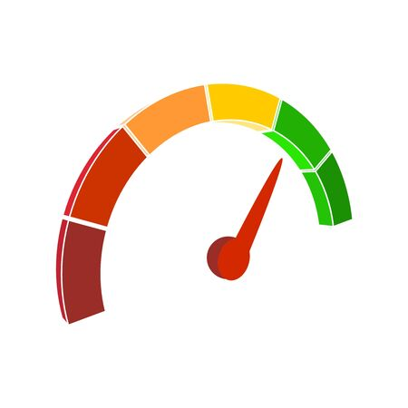 Color scale with arrow from red to green. The measuring device icon. Sign tachometer, speedometer, indicators. Vector illustration in isometric style. Colorful infographic gauge element