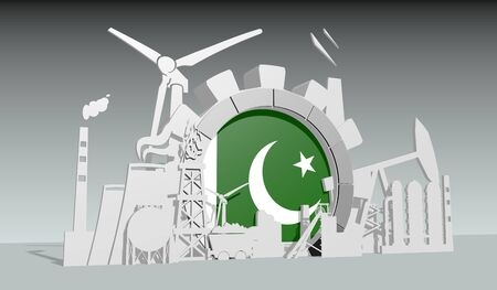 Energy and power industrial concept. Gear with flag of the Pakistan. Energy generation and heavy industry. 3D rendering.