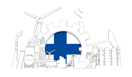 Energy and power industrial concept. Gear with flag of the Finland. Energy generation and heavy industry. 3D rendering. Thin line style