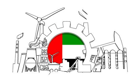 Energy and power industrial concept. Gear with flag of the United Arab Emirates. Energy generation and heavy industry. 3D rendering. Thin line style