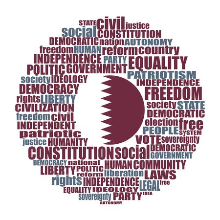 Word cloud with words related to politics, government, parliamentary democracy and political life. Flag of the Qatar