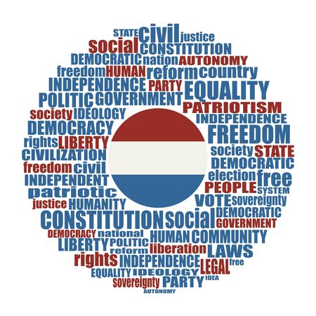 Word cloud with words related to politics, government, parliamentary democracy and political life. Flag of the Netherlands Banque d'images - 139403914
