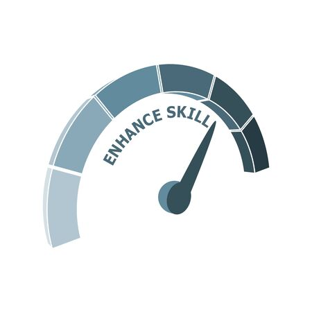 Scale with arrow. Enhance skill level measuring device icon. Sign tachometer, speedometer, indicators. Infographic gauge element.