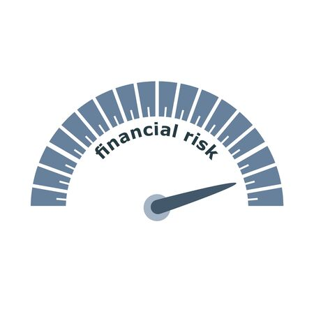 Financial risk level scale with arrow. The measuring device icon. Sign tachometer, speedometer, indicators. Infographic gauge element