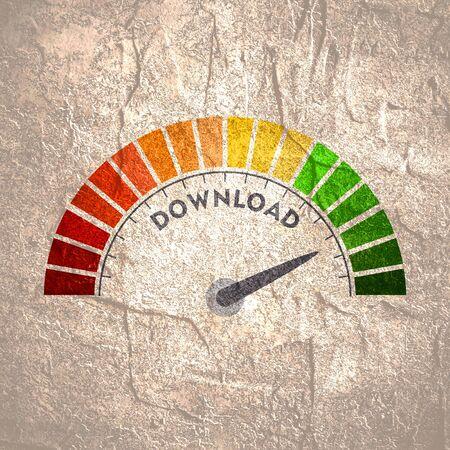 Farbskala mit Pfeil von Rot nach Grün. Das Symbol für das Download-Geschwindigkeitsmessgerät. Tacho, Tacho, Blinker zu unterzeichnen. Buntes Infografik-Messelement.
