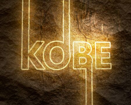 Image relative to Japan travel theme. Kobe city name in geometry style design. Creative typography poster concept. Stone surface texture. Neon shine letters