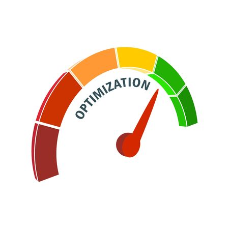 Scale with arrow. Optimization level measuring device icon. Sign tachometer, speedometer, indicators. Infographic gauge element.