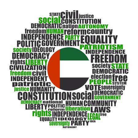 Word cloud with words related to politics, government, parliamentary democracy and political life. Flag of the United Arab Emirates