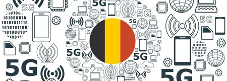 Mobile gadgets technology relative vector image. Circle frame with technology thin line icons. 5G Network Symbol. Flag of the Belgium
