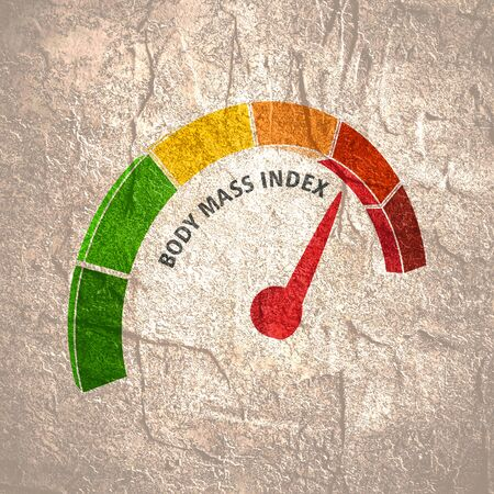 Body mass index meter read high level result. Color scale with arrow from green to red. The measuring device icon. illustration in isometric style. Colorful infographic gauge element Фото со стока