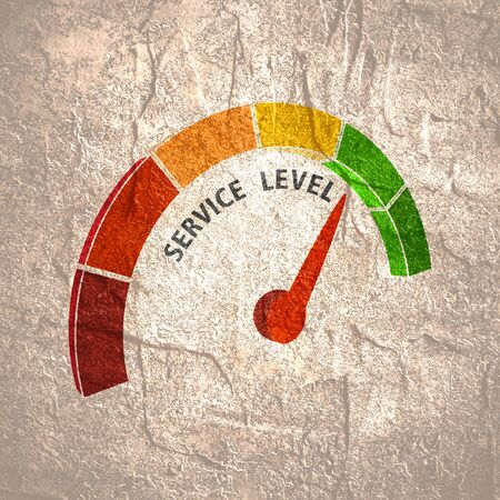 Scale with arrow. Service level measuring device icon. Sign tachometer, speedometer, indicators. Infographic gauge element.