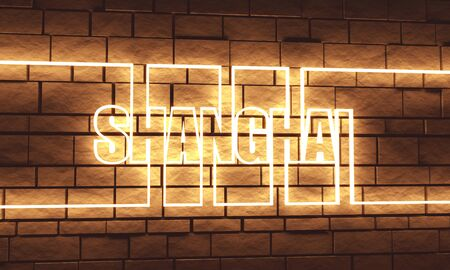 Shanghai city name in geometry style design. Creative vintage typography poster concept. 3D rendering. Neon bulb street sign illumination Stok Fotoğraf