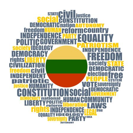 Word cloud with words related to politics, government, parliamentary democracy and political life. Flag of the Lithuania