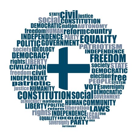 Word cloud with words related to politics, government, parliamentary democracy and political life. Flag of the Finland