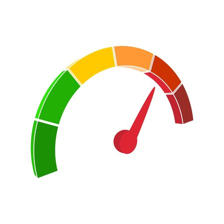 Color scale with arrow from green to red. The measuring device icon. Sign tachometer, speedometer, indicators. Vector illustration in isometric style. Colorful infographic gauge element Çizim