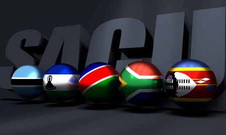 Southern African Customs Union - association of five national economies members flags. Global teamwork. 3D rendering