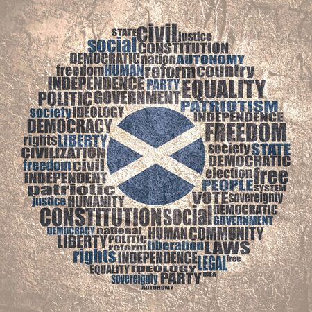 Word cloud with words related to politics, government, parliamentary democracy and political life. Flag of the Scotland.