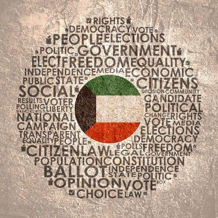 Words cloud relative for voting. Circle frame. Flag of the Kuwait Stok Fotoğraf