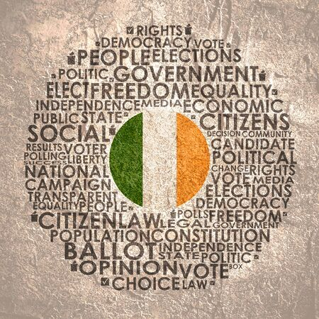 Words cloud relative for voting. Circle frame. Flag of the Ireland
